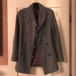Blue Herringbone Double Breasted Pea Coat